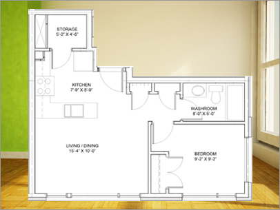 1 bedroom apartment for rent in Orleans, Model C Layout