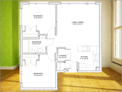 2 bedroom apartment in Orleans, Model A Layout